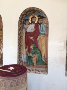 Kvinnan med blödningarna, hon som vågade sig fram och som snuddar vid Jesu mantel.